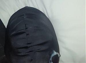 Amateur Facial cum shot on spandex mask hood
