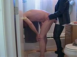 Fucking his ass in the bathroom...