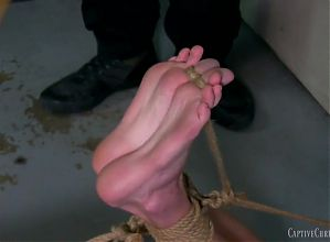 Naked, tied up feet torture