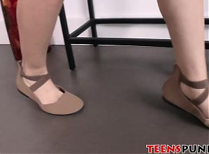 Hot skinny teen Freya getting hard doggystyle punishment