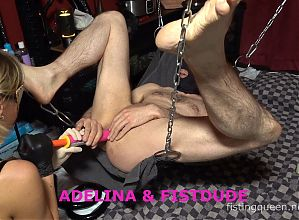 Extreme Deep Anal Femdom Fisting in the Sling