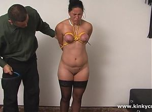 Bound slave in extreme punishment