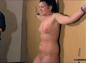 Crucified Irina got harsh breast whipping.