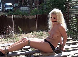 Submissed.com Blonde bound struggling