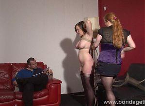 Lesbian livingroom bondage of cute gagged damsel in distress