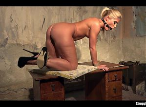 Sandy bound ballgagged tit-grabbed whipped vibed squirting