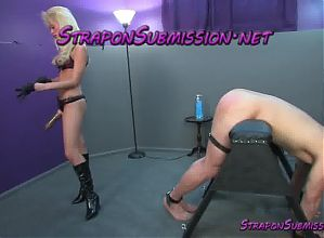 Petite blonde femdom in boots ass fucks male pig