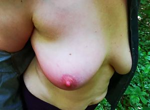 Torn open blouse and 120 hard blows on the bare breasts