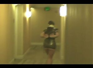 Tied Slave helpless in hotel hallway