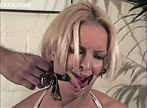 Harness gagged blonde pt1