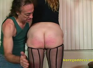 Deep throating while she is spanked