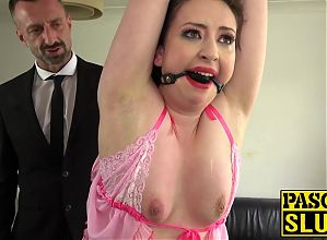 Nasty subslut gagged for spanking and anal destruction