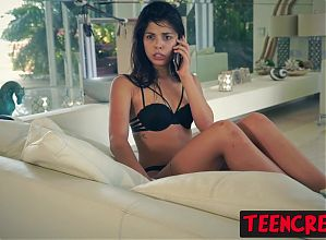 Cute brunette teen Gina Valentina pounded until pussy broken
