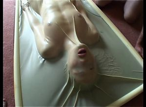 Girlfriend getting used in a vac bed