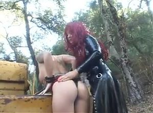 Lesbian domination outdoors.
