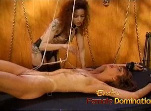 Slutty bitch gets tied down and has her pussy pleasured with