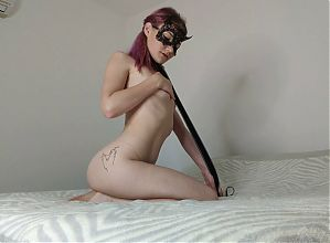 Obedient sex slave tightens the leash on her neck, 4K UHD