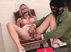 Tinkerbell pissed and spunked on after extreme pussy insertions