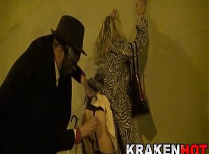BDSM in the streets with submissive mature