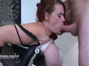 Huge tits milk cow fucked in the milking chair