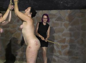 Lezdom - Mistress and 2 slaves (whipping)
