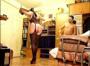 Yoke pillory and dental gag fun for whip dancing slut- TRAILER
